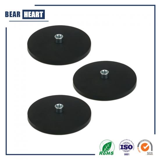 Rubber coated magnets with high internal thread