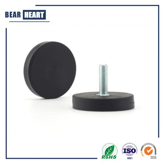 Rubber coated neodymium magnet with threaded stem