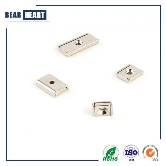 Square Rectangular Neodymium Channel Magnet with Countersunk Hole